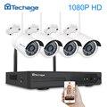 Techage 4CH 1080 P inalámbrica NVR sistema de seguridad CCTV 1080 P 2MP IR impermeable al aire libre cámara IP Wifi P2P Video kit de vigilancia de