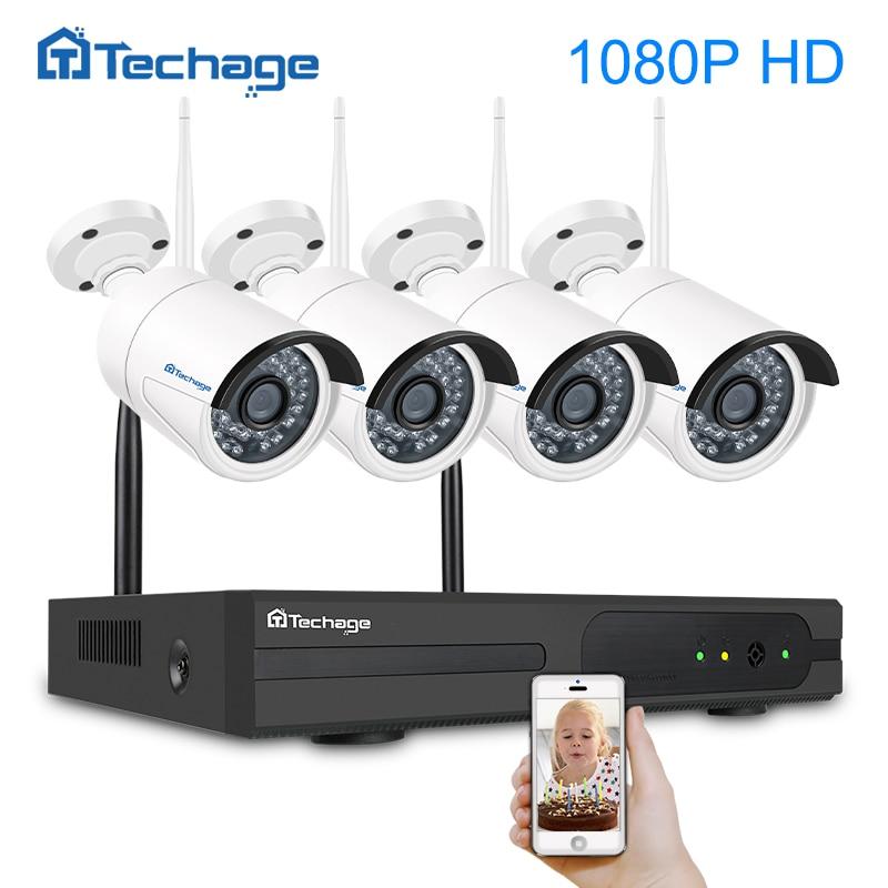 Techage 4CH 1080P HD беспроводной CCTV системы безопасности NVR 2MP открытый водостойкий Wi Fi IP камера P2P товары теле и видеонаблюдения комплект 1 ТБ HDD