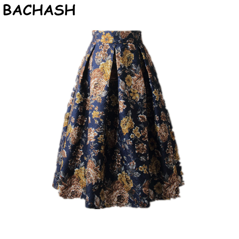 BACHASH High Street Women Pleated Skirts 2018 Spring Autumn Vintage High Waist Knee Length Office Workwear Flared Good Skirt