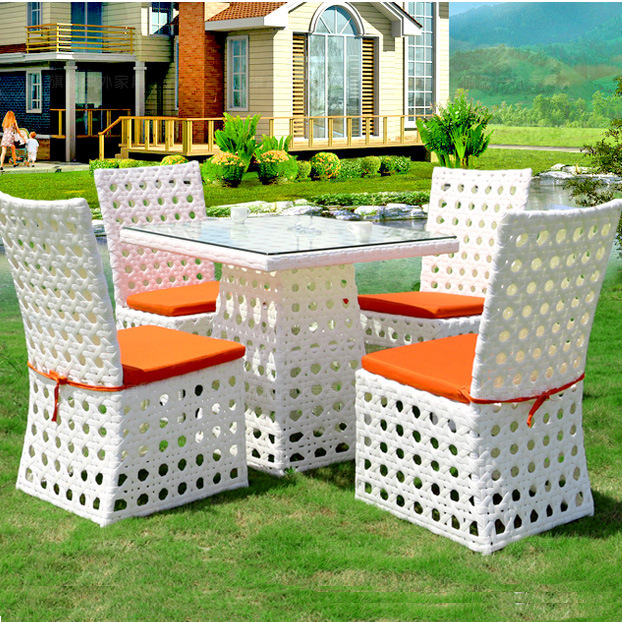 Delicieux Set Of 5pcs All Weather Outdoor White Wicker Rattan Patio Dining Table Set  Orange