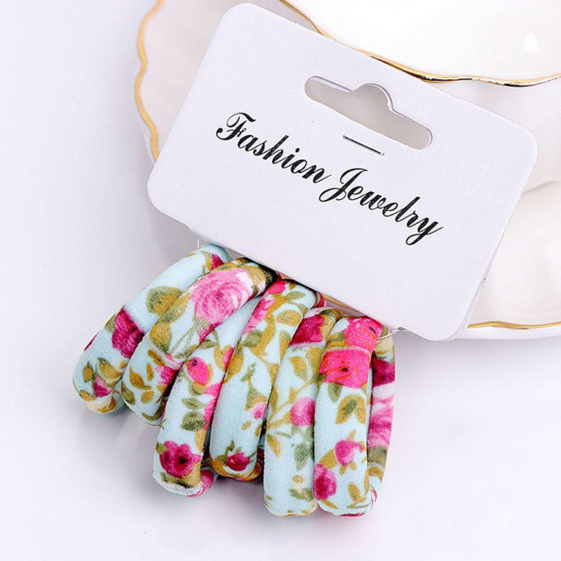 Girl's Accessories Apparel Accessories Humor 6 Pcs/set Colorful Kids Girls Cotton Print Ponytail Holder High Elastic Hair Ropes Tie Gum Rubber Hair Bands Accessories