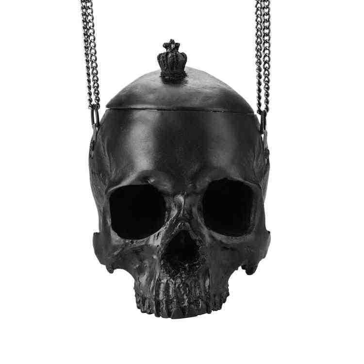 Новый унисекс макияж ремень цепь большой череп женская мужская сумка на плечо Хэллоуин специальная Личность Стиль черная сумка