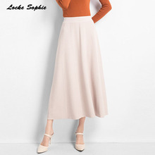 1pcs Hight waist skirts Womens A-line 2019 Autumn New Fashion knitting cotton Splicing elastic skirt Ladies Skinny