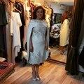 Nueva elegante madre del vestido de novia 2017 Con El Cabo Applique por Encargo Más El Tamaño de vestidos de La Madre con la chaqueta de plata vestido