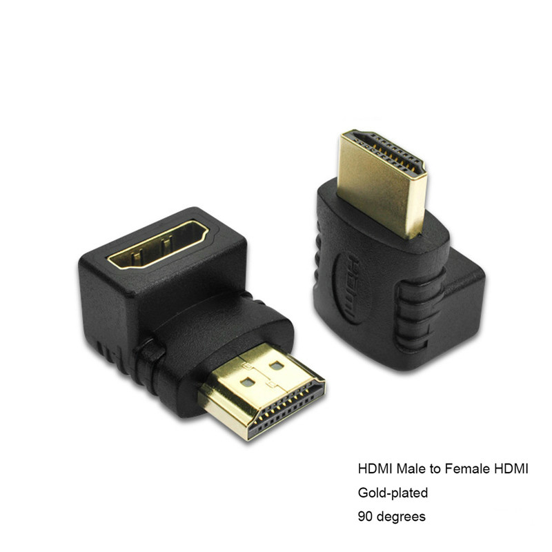 New 90 Degree Golden HDMI1.4 Micro HDMI Male female Adapter Converter 1080p