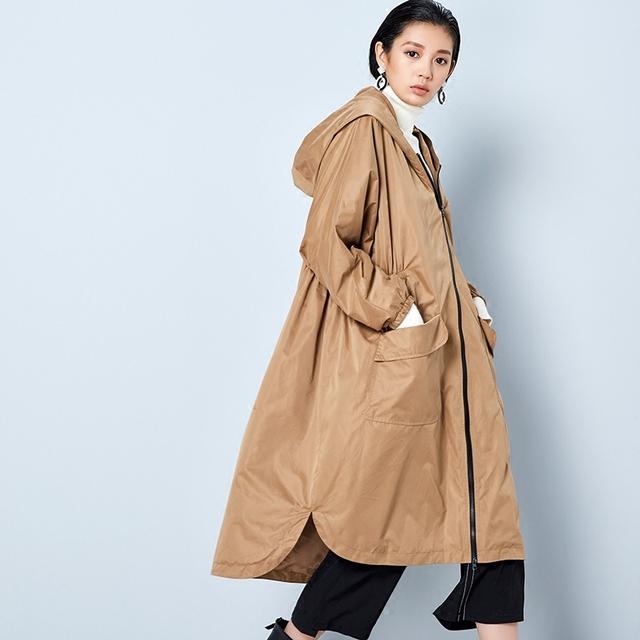BC033 Nuevo Otoño de la Llegada 2016 de gran tamaño de color caqui x cremallera larga con capucha suelta más el tamaño casual trench coat mujeres