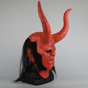 Image 2 - Película Hellboy: Rise of the Blood máscara de Reina Ox máscara con cuerno mano derecha guantes para juegos de disfraces armadura guante de mano de látex guantelete fiesta Halloween