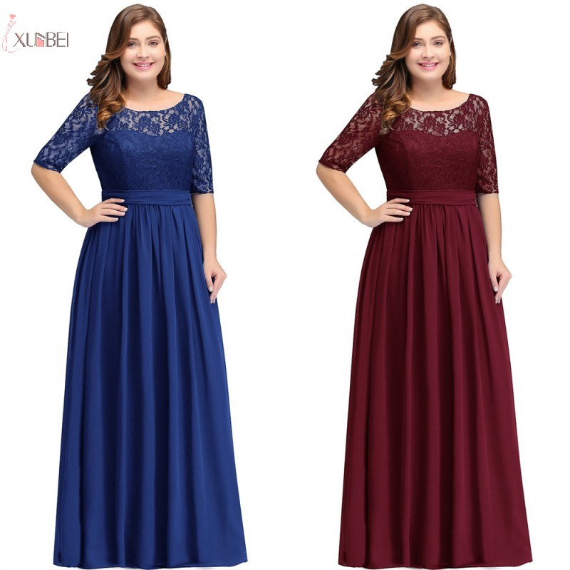 2019 Burgundy Chiffon Plus Size Long   Bridesmaid     Dresses   Scoop Neck Half Sleeve Wedding Party Gown vestido madrinha