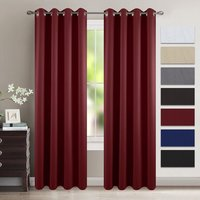 Striped Red Room Darkening Draperies Microfiber Noise Reducing Thermal Insulated Wavy Embossed Ring Top Window Curtains
