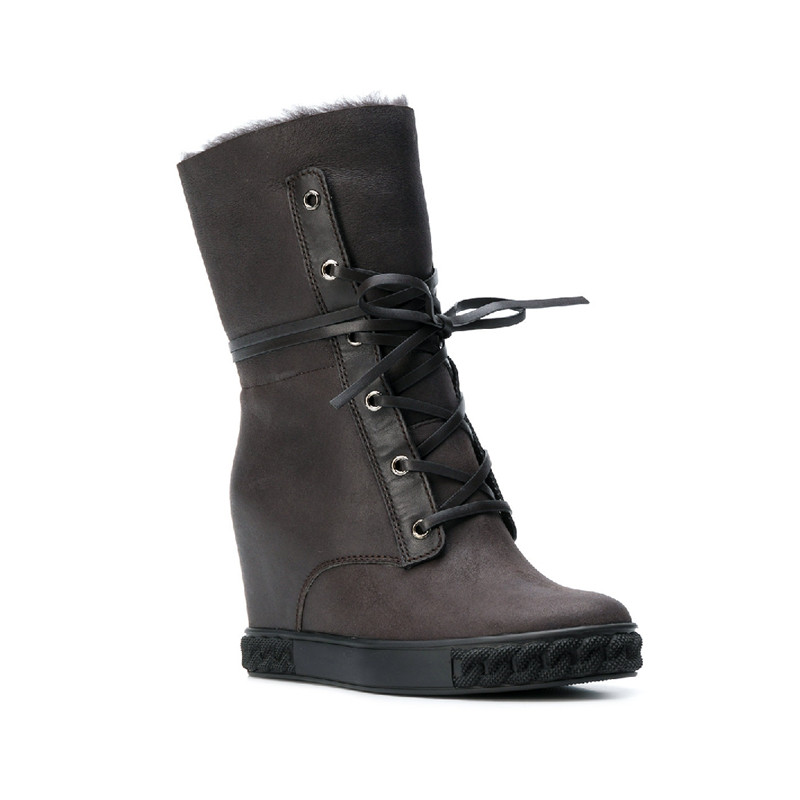 Hot 2018 Fur Shearling Lace Up Snow Boots 8CM Height Increasing Wedge Casual Boots Design Woman Winter Wool Boots Zapatos MujerHot 2018 Fur Shearling Lace Up Snow Boots 8CM Height Increasing Wedge Casual Boots Design Woman Winter Wool Boots Zapatos Mujer