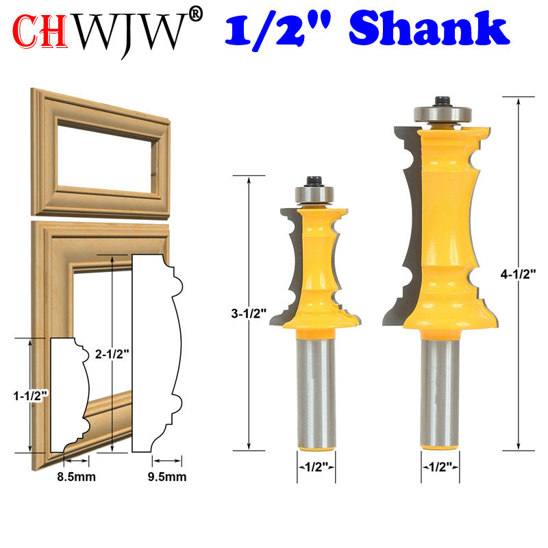 2PC 1/2 Shank Mitered Door & Drawer Molding Router Bit Set Line knife Woodworking cutter Tenon Cutter for Woodworking Tools high grade carbide alloy 1 2 shank 2 1 4 dia bottom cleaning router bit woodworking milling cutter for mdf wood 55mm mayitr