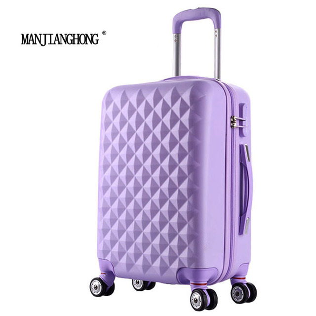 """24"""" High quality Diamond lines Trolley suitcase /travell case luggage/Pull Rod trunk rolling spinner wheels/ ABS+PC boarding bag"""