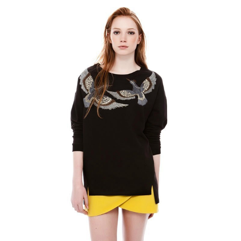 hot women fashion bird embroidery printed sweatshirts coats cotton o neck long sleeve s m l. Black Bedroom Furniture Sets. Home Design Ideas