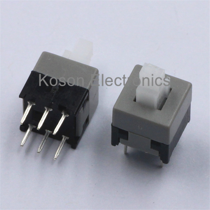 20pcs 6Pin Push Tactile Power Micro Switch Self lock On/Off button Latching switch 8.5X8.5mm 8.5*8.5mm стоимость