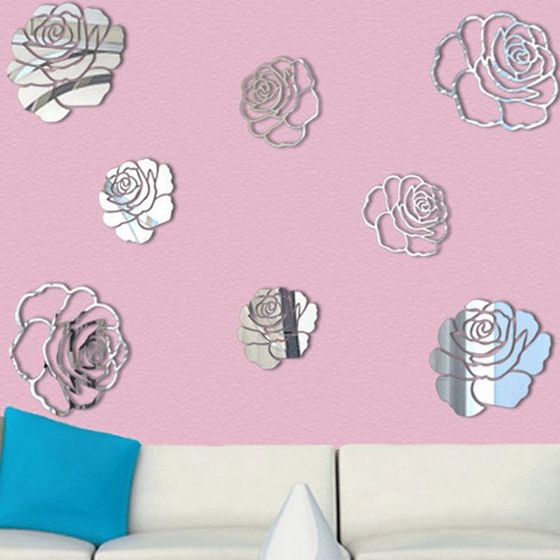 Removable 3D Acrylic Mirror Big Rose Flowers Pattern Living Room ...