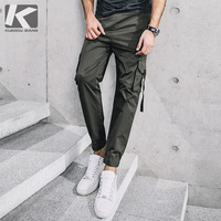 KUEGOU New Spring Mens Casual Cargo Pants Blue Army Green Color Pockets For Man S Wear