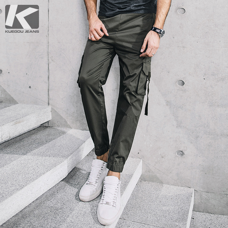 KUEGOU New Spring Mens Casual Cargo Pants Blue Army Green Color Pockets For Man's Wear Slim Male Brand Long Trousers 72294 high quality brand clothing casual trousers drawstring denim green cargo pants regular fit pockets full jeans pants 28 38 a320