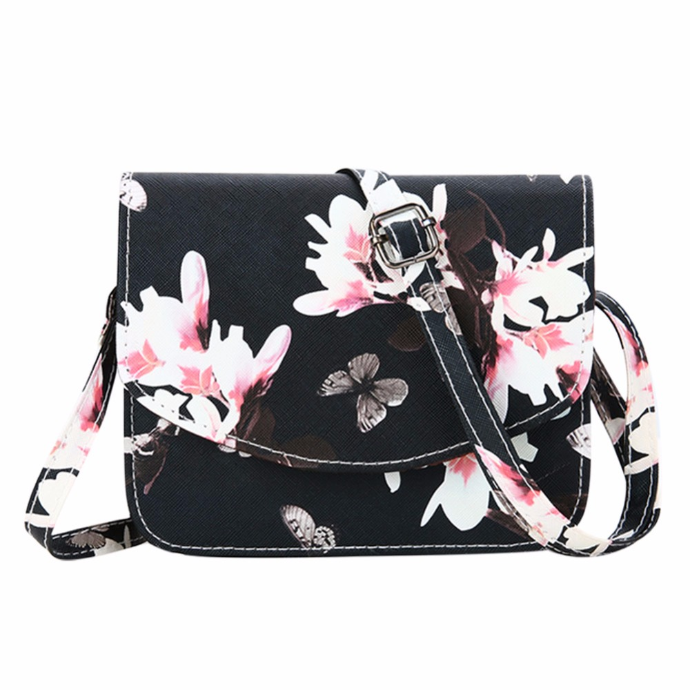 Women PU Leather Handbag Fashion Female Crossbody Bags Womens Shoulder Bag Floral Girls  ...