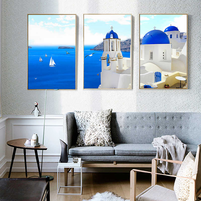 Wall Art Picture Modern Nordic Greece Santorini Aegean Sea Views Canvas Painting Print Poster Living Room Home Decor Background