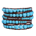 Kelitch Jewelry Handmade Weave 5 Wrap Bracelets 8MM Turquoise Beads Silver Plated Nuggets Special Gifts Pulsera
