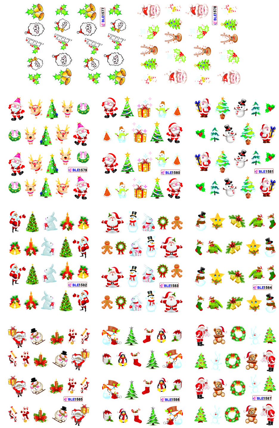 on sale !! 1lot by 20 papers 11 New Style Nail Art Water Sticker Christmas gift in 2016 for BLE1577-1587,
