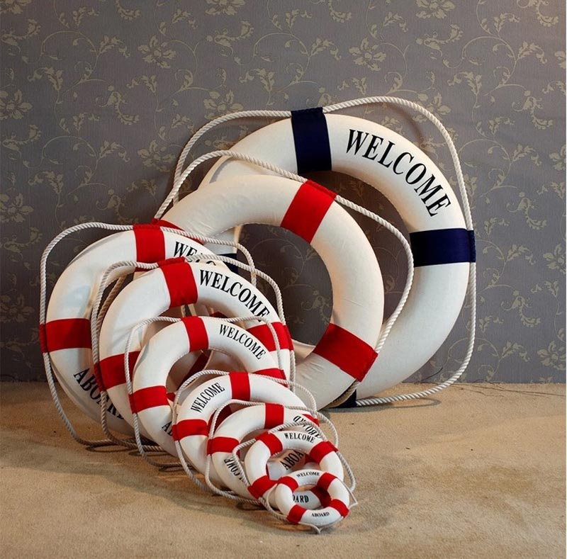 New Hot Elegant Mediterranean Foam Home Decor Nautical Decorative Lifebuoy Life Ring Wall Hanging Showcase Room