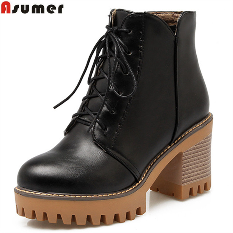 Asumer autumn winter new arrive women boots black brown gray square heel ankle boots lace up zipper platform ladies boots 2017 new fashion lace up women boots genuine leather square heel black autumn winter sexy brand ladies ankle boots women shoes