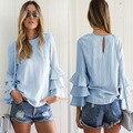 Women blue Ruffles sleeve blusas long sleeve blouse 2016 Summer female shirt korean solid tops Y241