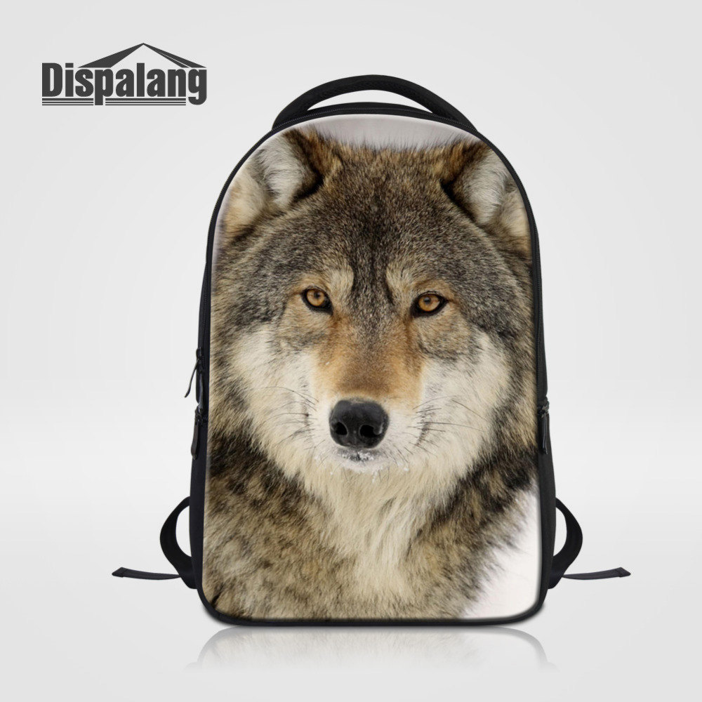 Dispalang Men School Backpack Animal Wolf Print Shoulder Bag For Women 14inch Laptop Bags Fox Notebook Backpacks For Teenager