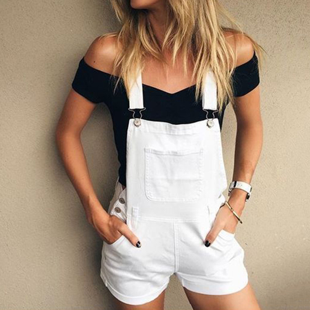 2017 New Fashion Playsuits Regular Women Solid White Color Summer casual Rompers new arrival Jumpsuits