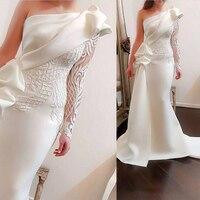 Новые Off White Русалка вечернее платье на одно плечо кружева с длинным рукавом Дубай Арабский Для женщин официальная Вечеринка платье Abendkleider