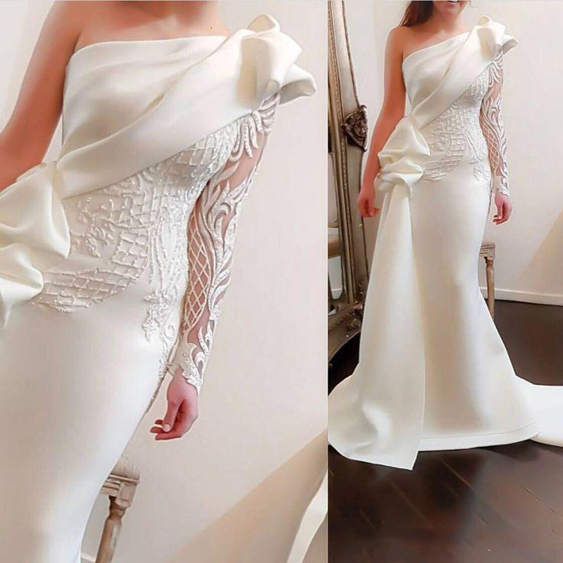 Newest Off White Mermaid Evening Dress One Shoulder Lace Long Sleeve Dubai Arabic Women Formal Party Dress Abendkleider Vestido