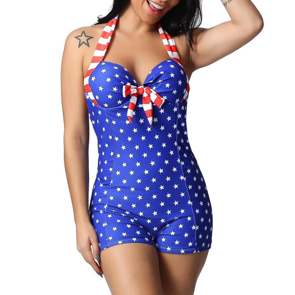 Women Plus Size American Flag One Piece Swimwear Women Print Star Sexy Halter Swimsuit Bathing Suit Female Monokini 5xl N50