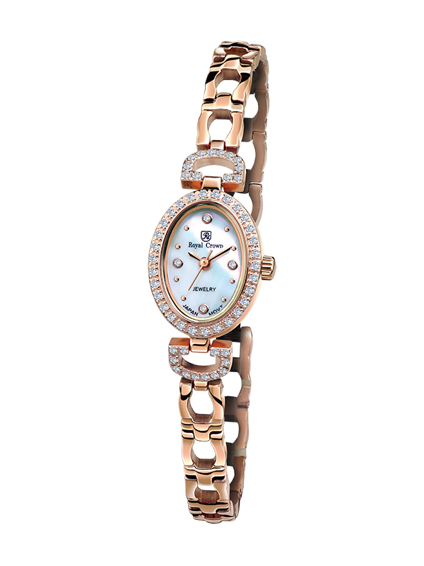 Royal Crown Jewelry Watch 6537S Italy brand Diamond Japan MIYOTA Rose gold Silver bracelet 16*21mm Claw set Soviet drill the silver crown