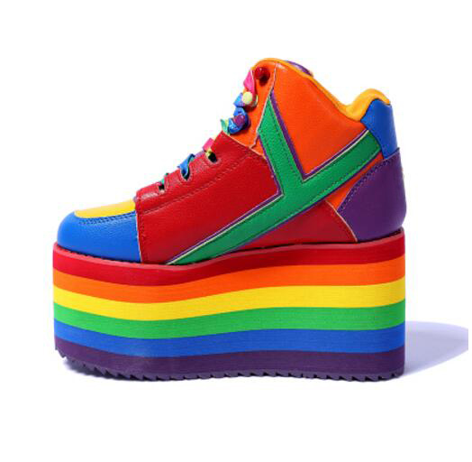 newest autumn winter ladies platform shoes Rainbow stripes 10 cm wedges  sneakers lace up height Increase