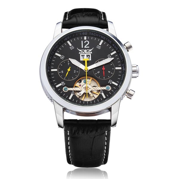 лучшая цена JARAGAR Brand Luxury Automatic Mechanical Tourbillon Calendar Leather Men Wrist Watch Men's Watches