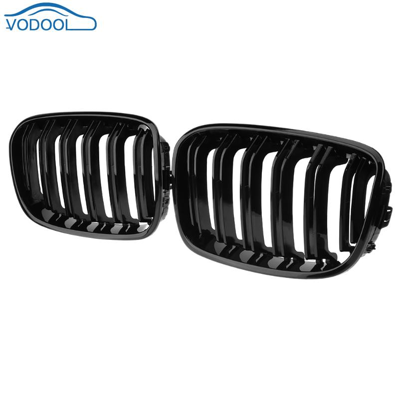 2pcs Front Grille Bumper Hood Grill Grilles Automobile Front Kidney Grille For BMW 1 Series F20 2012 2014 Glossy Black