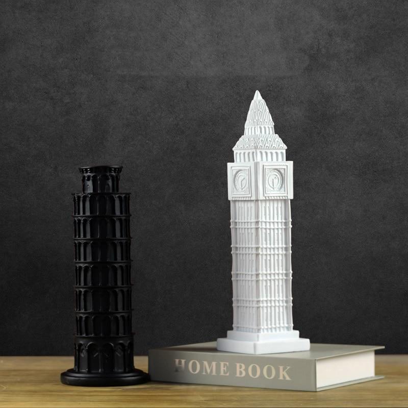 Exquis moderne architectural Elizabeth Tour sculpture Grand Art Big Ben Tour bâtiment Tour Penchée de Pise mobilier
