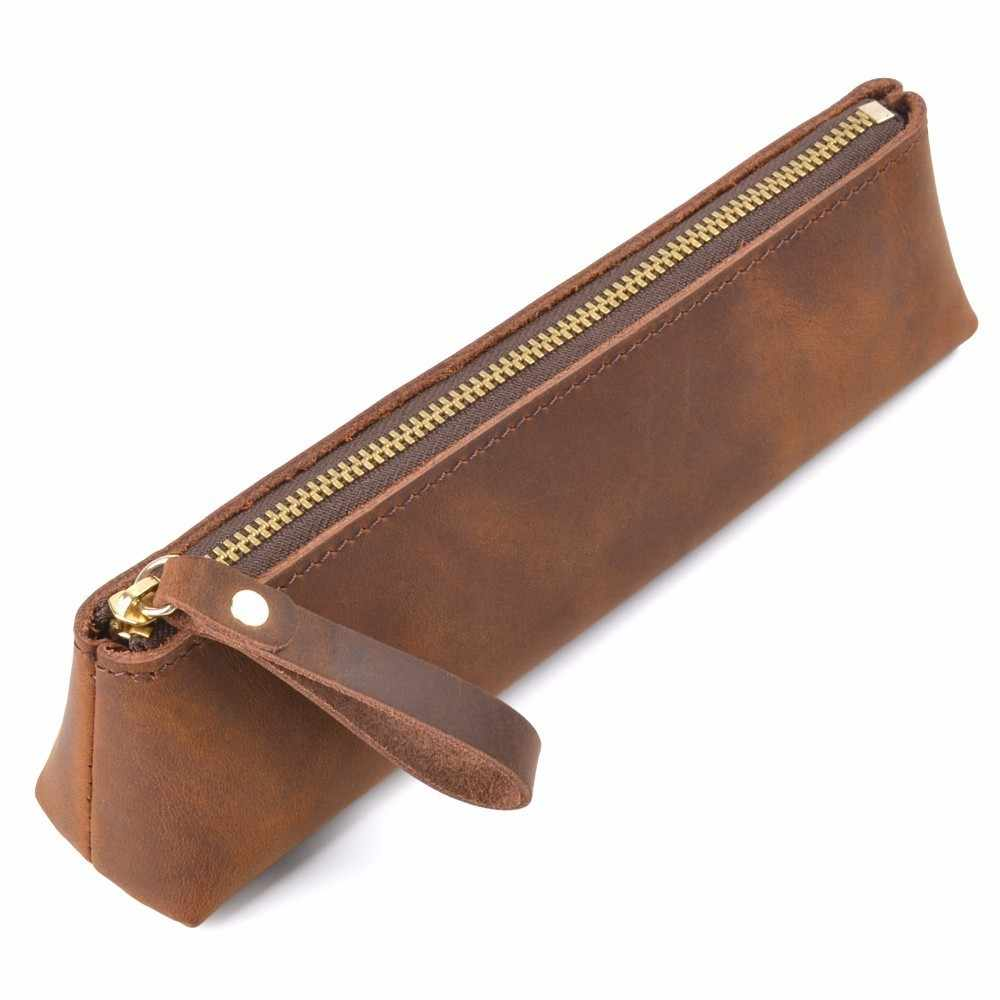 Genuine Leather Zipper Pen Case Pencil Bag Large Capacity Vintage Crazy Horse Leather Handmade Creative School Stationary