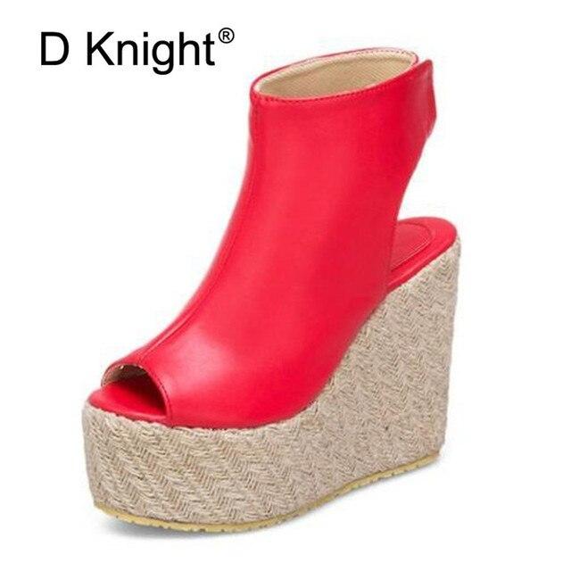 a31fe5d6ec80 Peep-toe Wedges Heel Sandals PU Leather Shoes Woman Straw Platform High Heel  Pumps 2019 Summer Hook Loop Ladies Casual Shoes D98