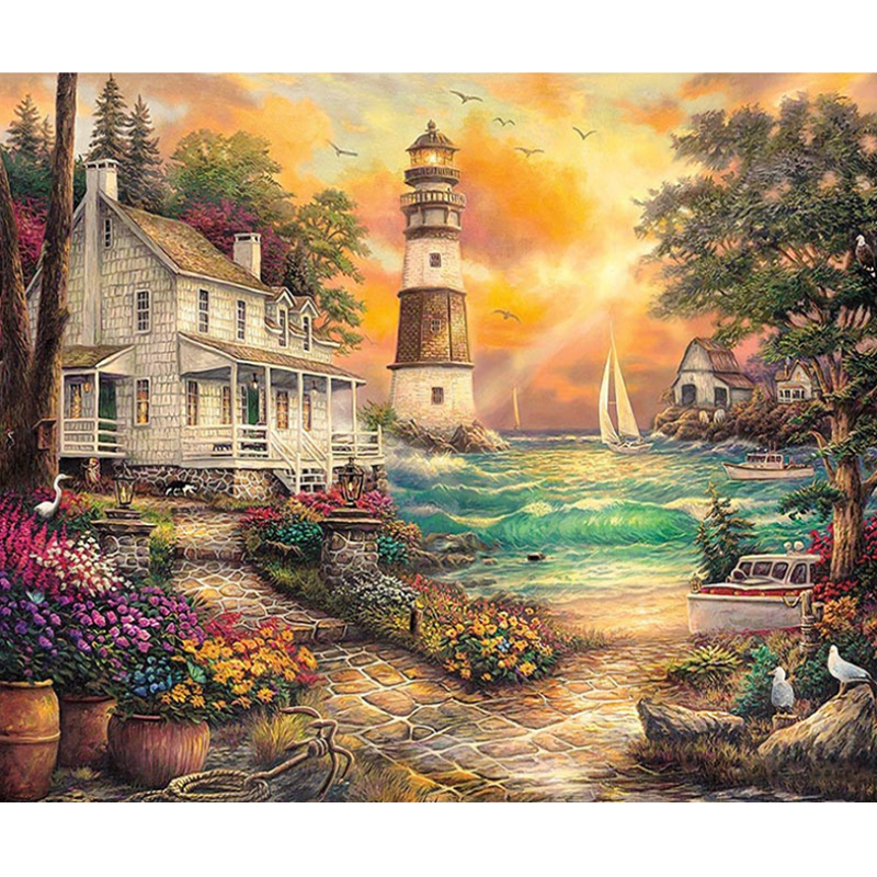 Full Drill Square 5d Diy Diamond Painting Langscape Diamond Painting flower Diamond Embroidery Sea Home Decor Gift Unframe A127