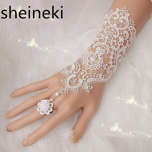 Cheap Fingerless Lace Wedding Gloves New Hot Sale Fashion White Ivory Bride Bridal Gloves With Ring Bracelet