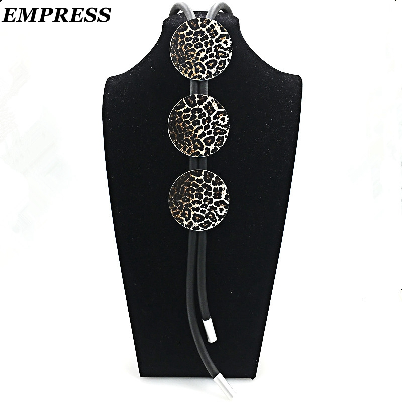 EMPRESS DIY Pop Leopard Print Pattern Foam Multi-Layer Style Hand-Made Statement Necklace Lucky Jewelry For Women