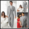 2017 Sexy Silver Groom Tuxedos Two Buttons Side Slim Best Man Suit Wedding Groomsman Men Suits Bridegroom (Jacket+Pants+Vest)
