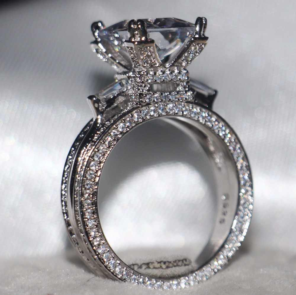 10CT Big เจ้าหญิงตัด 5A Clear Zirconia เครื่องประดับ 925 เงินสเตอร์ลิงที่เต็มไปด้วย Eiffel Tower ผู้หญิงงานแต่งงาน Pave แหวนชุด