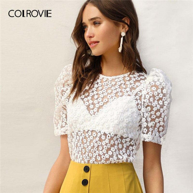 COLROVIE Branco Puff Luva Bordado Floral de Malha Transparente Sexy Blusa Camisa Das Mulheres 2019 Verão Amarrar Volta Blusas Sem Sutiã