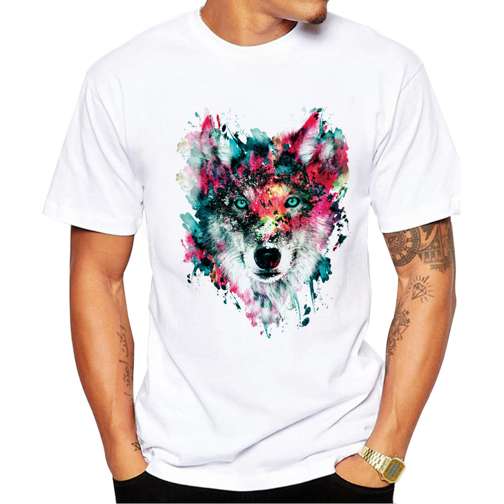 2018 Summer Custom Lion/owl/wolf/tiger/cat Design T Shirt Men's Watercolor Animal Graphics Printed Tops Hipster Tees Beautiful In Colour