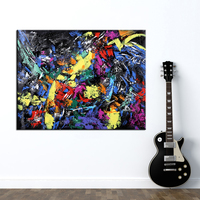 Hand Painted Modern Abstract Black Yellow Oil Painting Colorful Wall Decorative Canvas Art Pictures for Living Room Home Decor