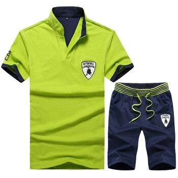1727b64a Conjunto de chándal de verano para hombre talla grande 4xl Camiseta de  manga corta + Pantalones cortos conjunto de 2 piezas ropa deportiva  pantalones ...