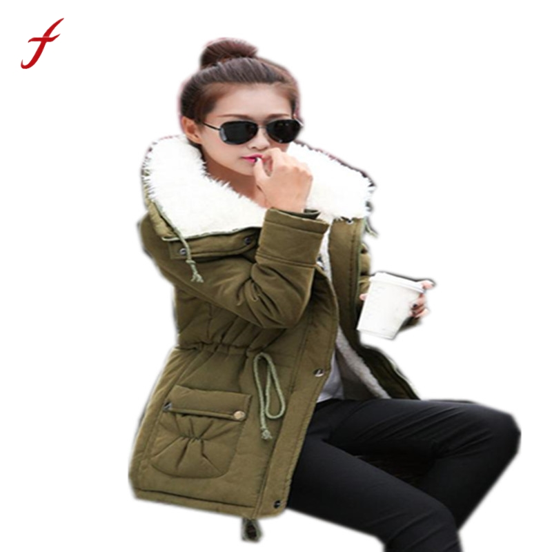 2017 New Fashion Winter Women Warm Long Coat Fur Turn-down Collar Jacket Thick Winter Parka Outwear Coats Plus Size Cotton Coat s 2xl 2 colors 2015 new winter women down coat long slim turn down collar zipper jacket female belt pocket outwear zs308